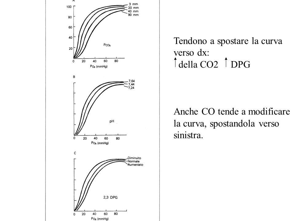 Tendono a spostare la curva verso dx: della CO2 DPG Anche CO tende a modificare la curva, spostandola verso sinistra.