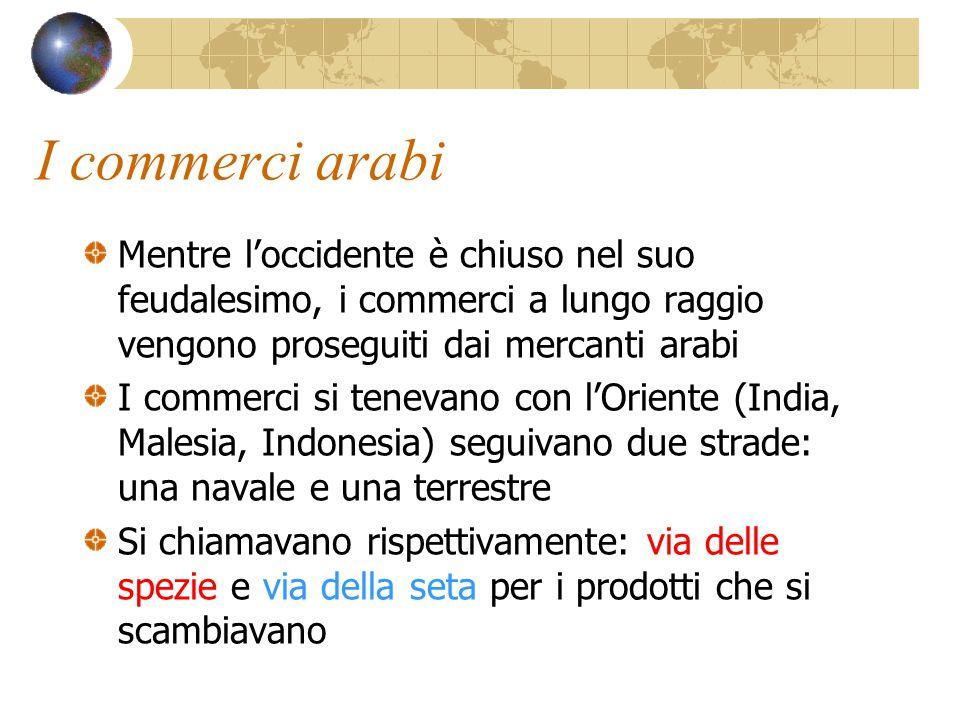 I commerci arabi Mentre l'occidente è chiuso nel suo feudalesimo, i commerci a lungo raggio vengono proseguiti dai mercanti arabi I commerci si teneva