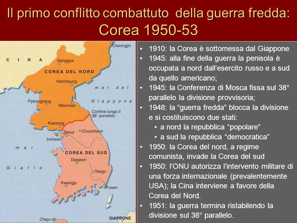Il primo conflitto combattuto della guerra fredda: Corea 1950-53 1910: la Corea è sottomessa dal Giappone 1945: alla fine della guerra la penisola è o