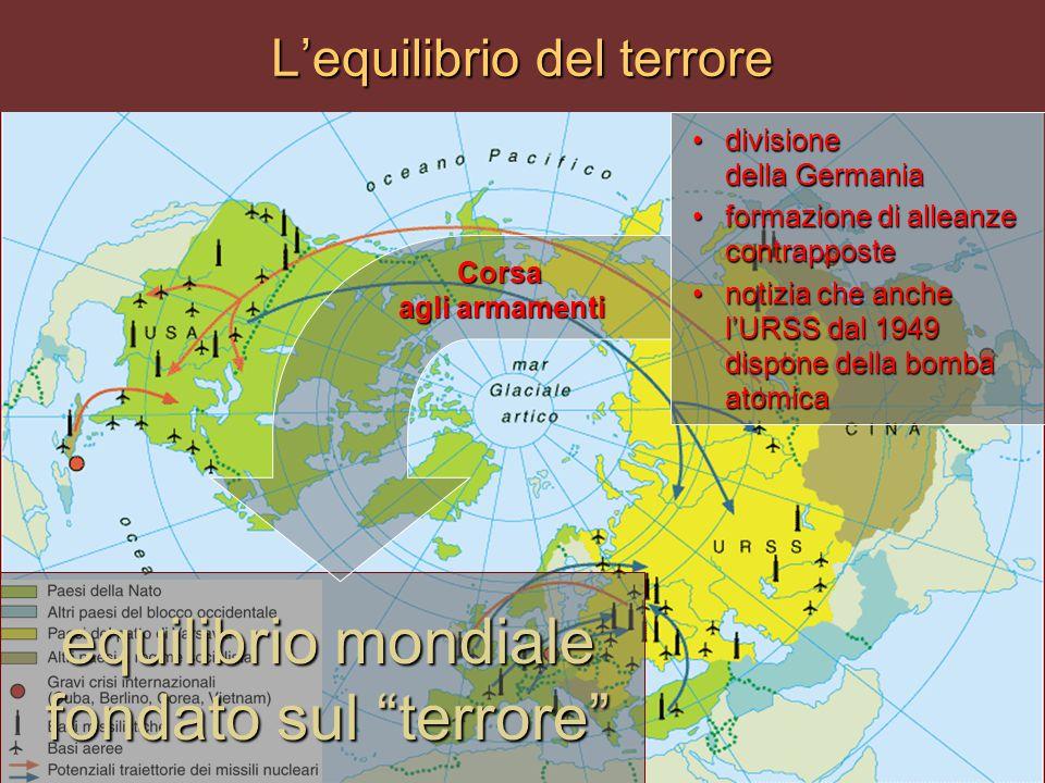 """L'equilibrio del terrore equilibrio mondiale fondato sul """"terrore"""" divisione della Germaniadivisione della Germania formazione di alleanze contrappost"""