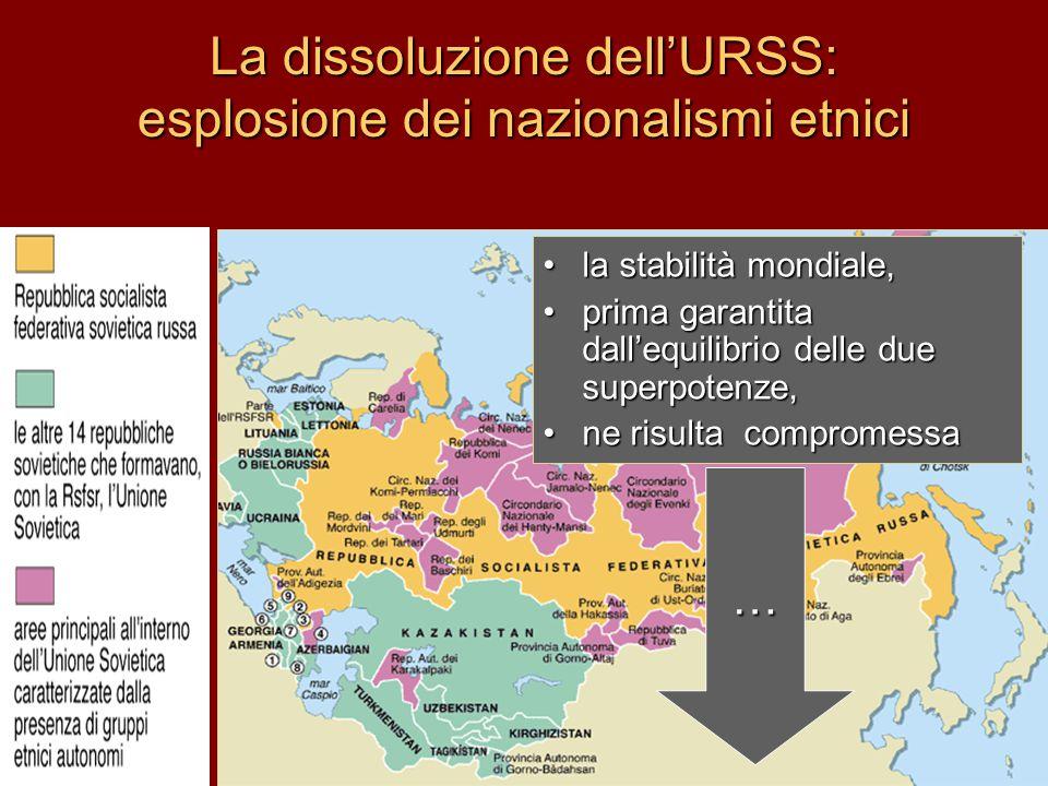 La dissoluzione dell'URSS: esplosione dei nazionalismi etnici la stabilità mondiale,la stabilità mondiale, prima garantita dall'equilibrio delle due s