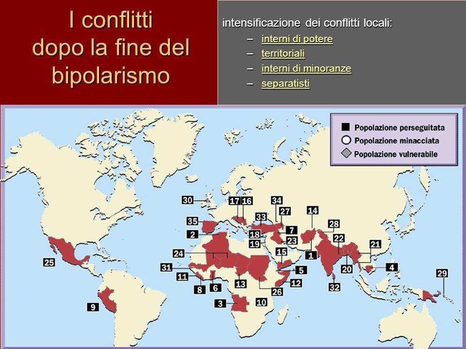 I conflitti dopo la fine del bipolarismo intensificazione dei conflitti locali: –interni di potere interni di potereinterni di potere –territoriali te
