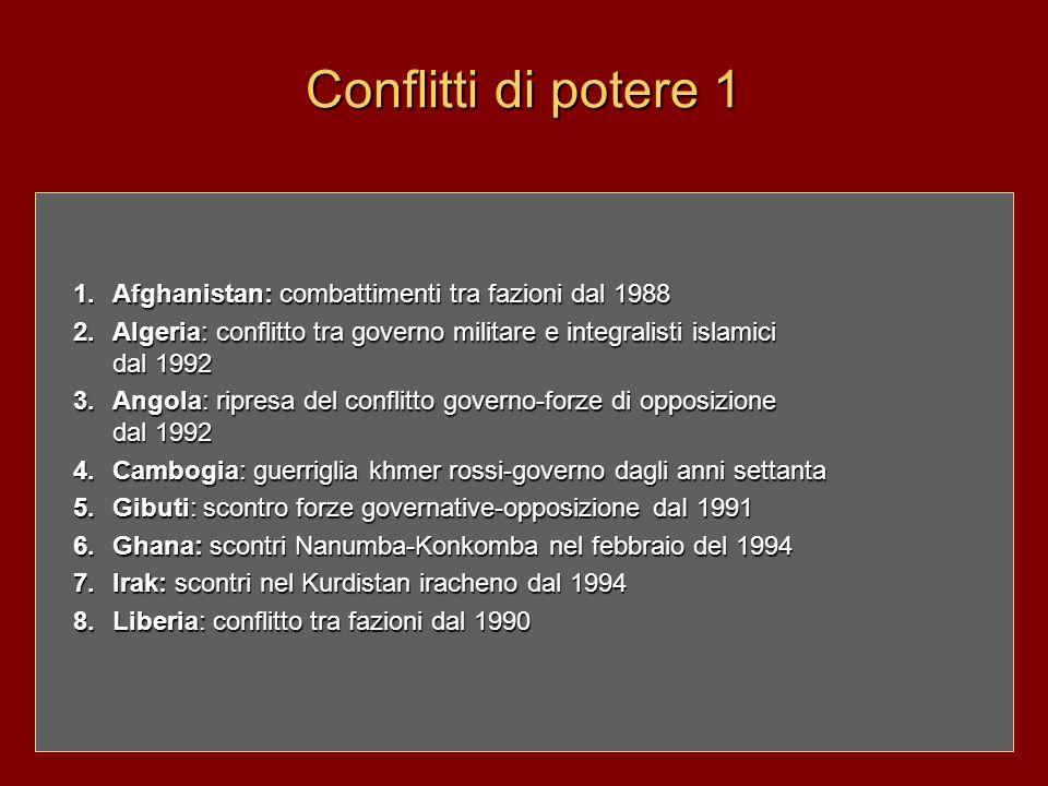 Conflitti di potere 1 1. Afghanistan: combattimenti tra fazioni dal 1988 2. Algeria: conflitto tra governo militare e integralisti islamici dal 1992 3