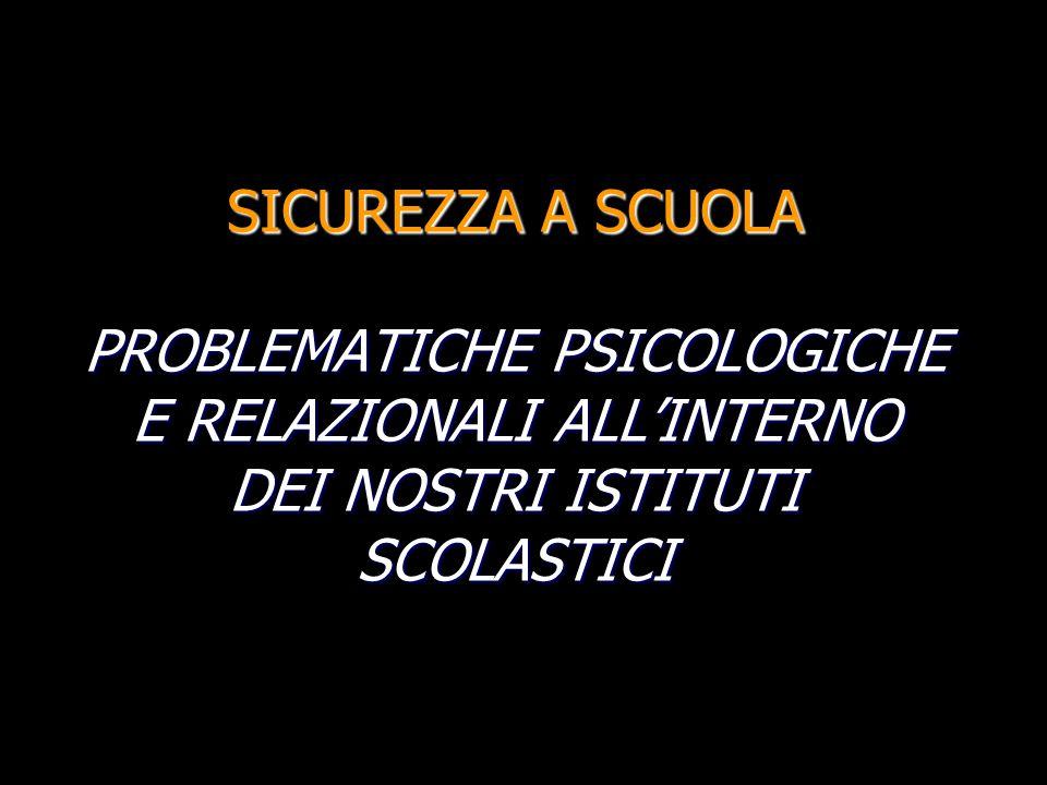 SICUREZZA A SCUOLA PROBLEMATICHE PSICOLOGICHE E RELAZIONALI ALL'INTERNO DEI NOSTRI ISTITUTI SCOLASTICI
