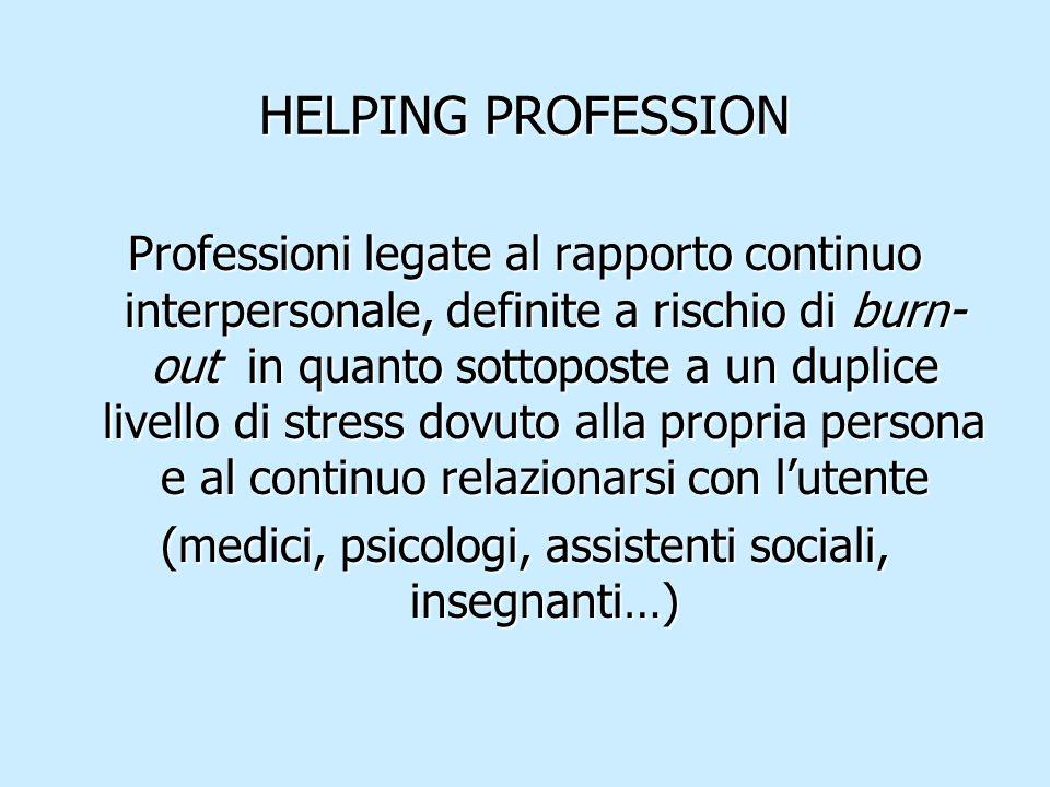 HELPING PROFESSION Professioni legate al rapporto continuo interpersonale, definite a rischio di burn- out in quanto sottoposte a un duplice livello d