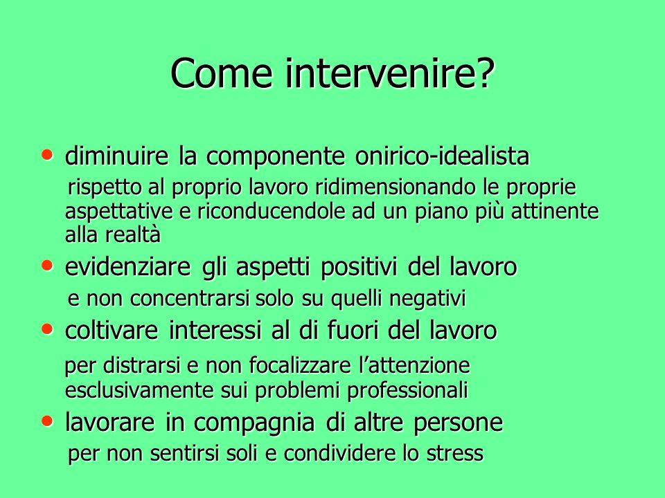 Come intervenire? diminuire la componente onirico-idealista diminuire la componente onirico-idealista rispetto al proprio lavoro ridimensionando le pr
