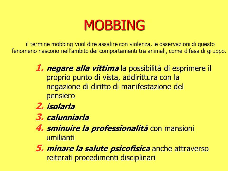 MOBBING 1. negare alla vittima la possibilità di esprimere il proprio punto di vista, addirittura con la negazione di diritto di manifestazione del pe