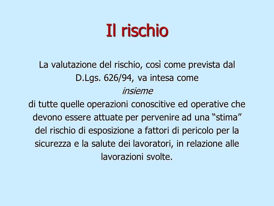 Il rischio La valutazione del rischio, così come prevista dal D.Lgs. 626/94, va intesa come insieme di tutte quelle operazioni conoscitive ed operativ