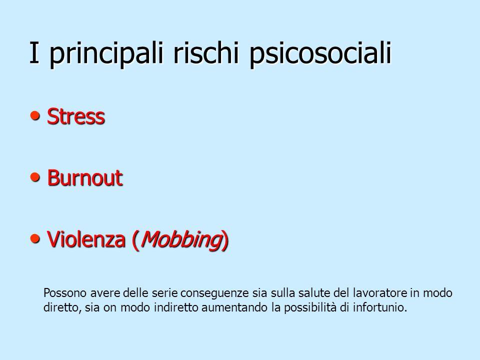 I principali rischi psicosociali Stress Stress Burnout Burnout Violenza (Mobbing) Violenza (Mobbing) Possono avere delle serie conseguenze sia sulla s