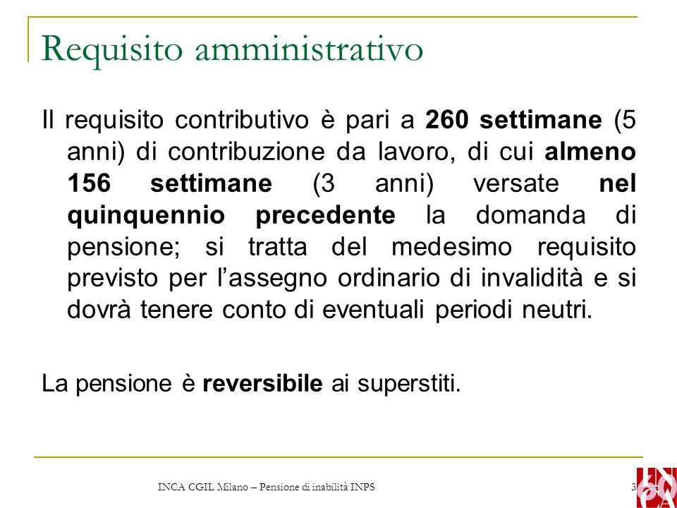 INCA CGIL Milano – Pensione di inabilità INPS 4 Requisito amministrativo E necessario cessare l attività lavorativa.