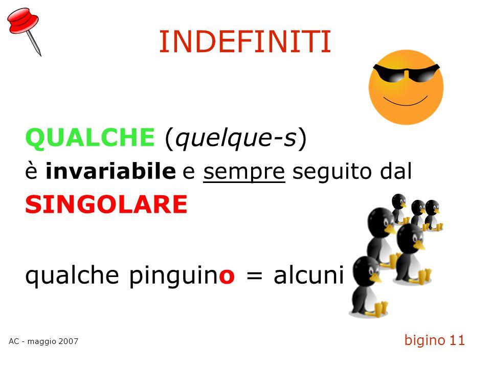 AC - maggio 2007 bigino 11 INDEFINITI QUALCHE (quelque-s)  è invariabile e sempre seguito dal SINGOLARE qualche pinguino = alcuni