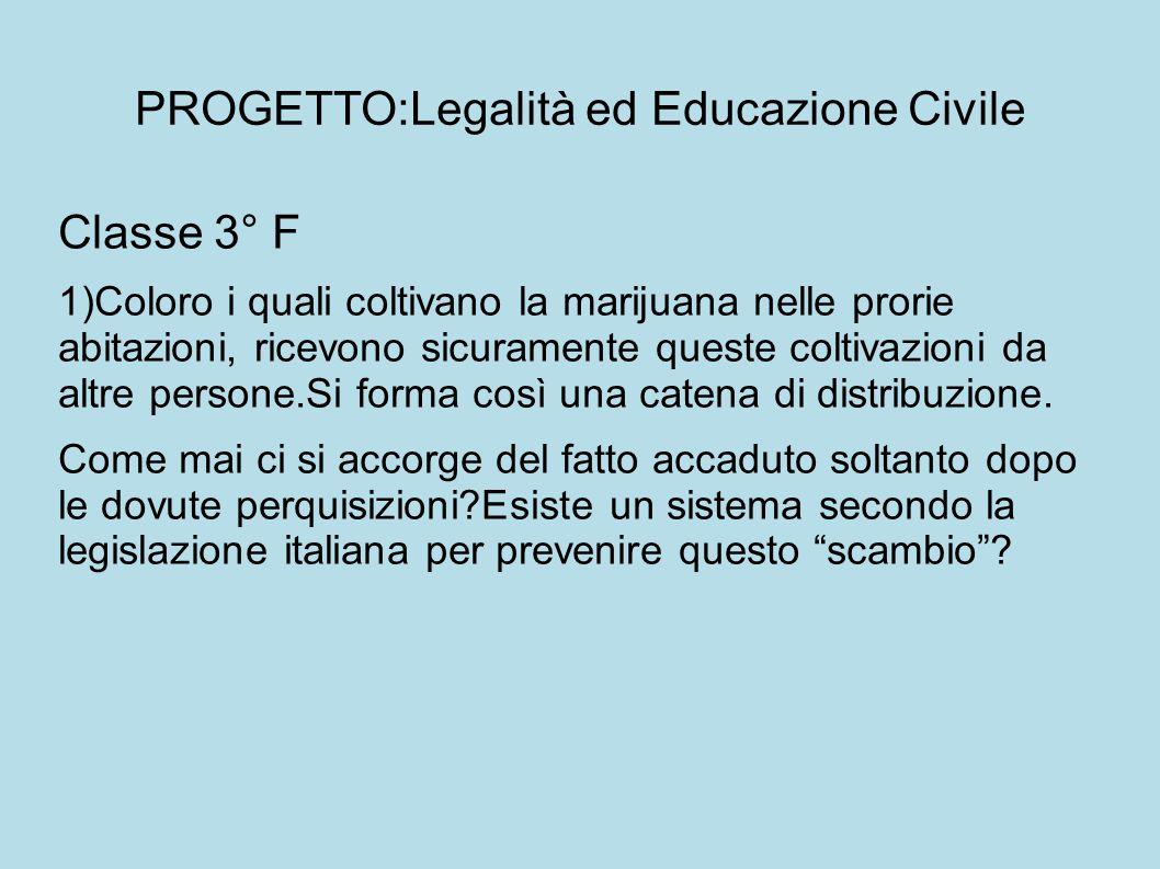 PROGETTO:Legalità ed Educazione Civile Classe 3° F 1)Coloro i quali coltivano la marijuana nelle prorie abitazioni, ricevono sicuramente queste coltiv