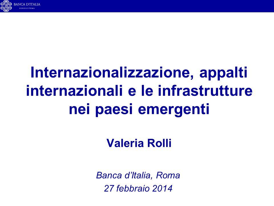 Internazionalizzazione, appalti internazionali e le infrastrutture nei paesi emergenti Valeria Rolli Banca d'Italia, Roma 27 febbraio 2014