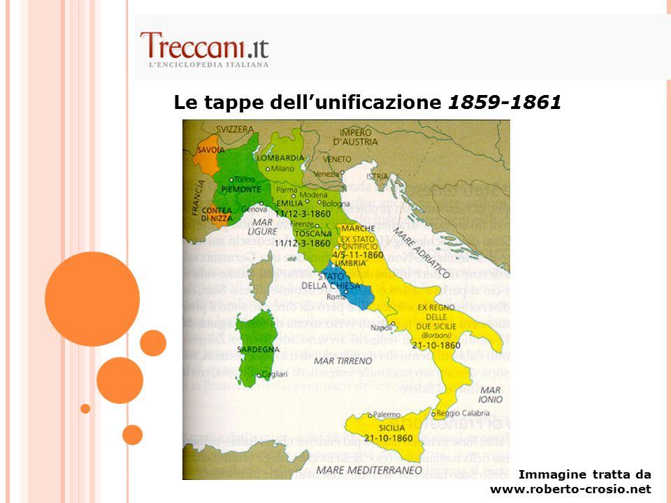 Le tappe dell'unificazione 1859-1861 Immagine tratta da www.roberto-crosio.net