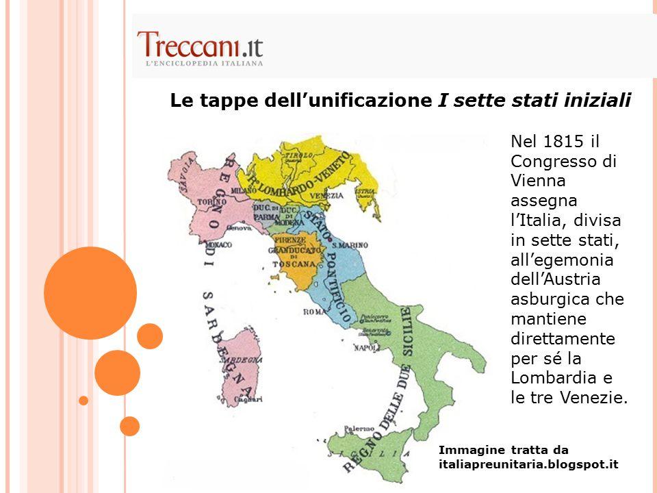 Nel 1815 il Congresso di Vienna assegna l'Italia, divisa in sette stati, all'egemonia dell'Austria asburgica che mantiene direttamente per sé la Lomba