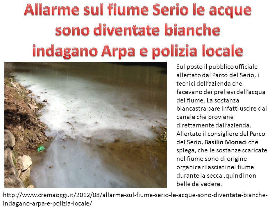 Una segnalazione dove l'acqua del fiume è diventata rossa nelle acque del Serio a Martinengo.