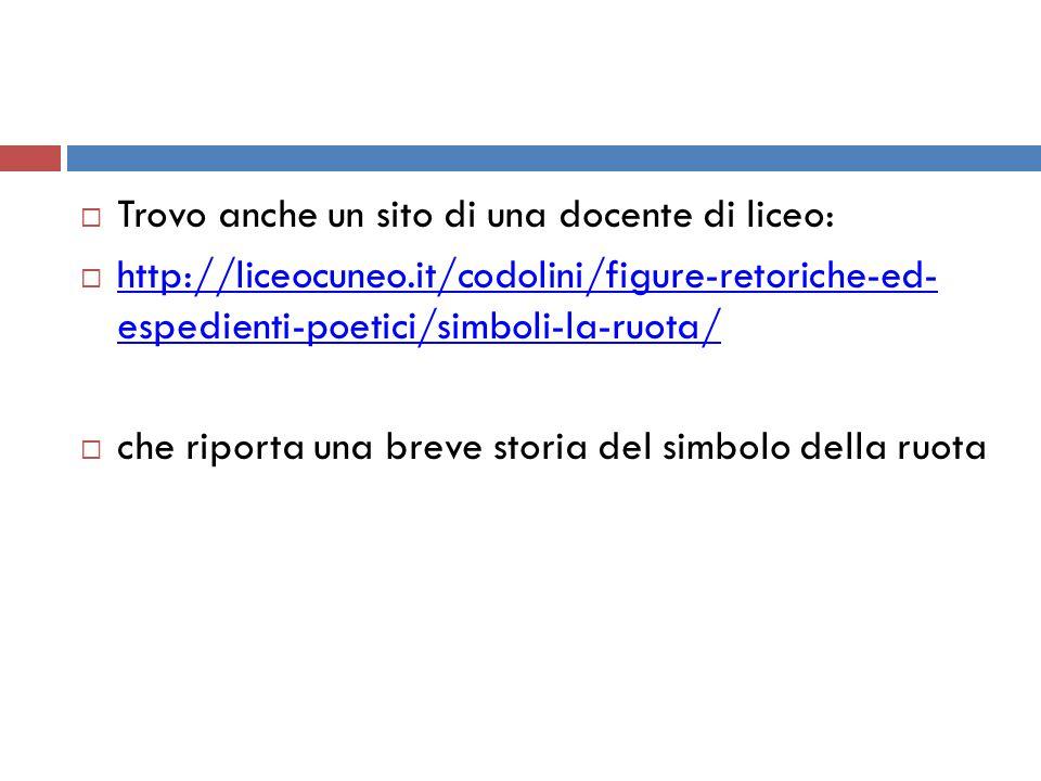  Trovo anche un sito di una docente di liceo:  http://liceocuneo.it/codolini/figure-retoriche-ed- espedienti-poetici/simboli-la-ruota/ http://liceocuneo.it/codolini/figure-retoriche-ed- espedienti-poetici/simboli-la-ruota/  che riporta una breve storia del simbolo della ruota