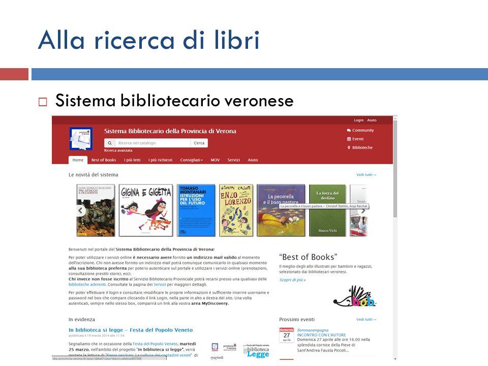 Alla ricerca di libri  Sistema bibliotecario veronese