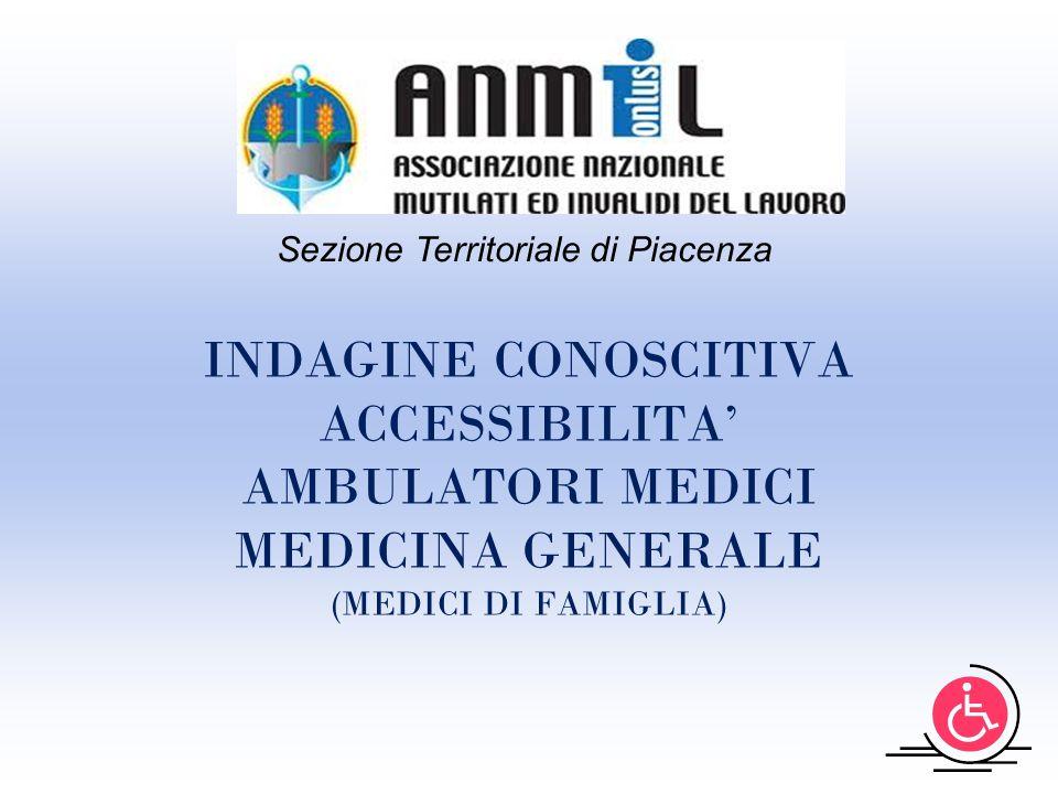 INDAGINE CONOSCITIVA ACCESSIBILITA' AMBULATORI MEDICI MEDICINA GENERALE (MEDICI DI FAMIGLIA) Sezione Territoriale di Piacenza