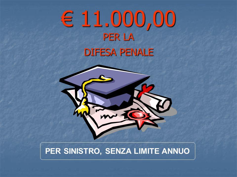 € 11.000,00 PER LA DIFESA PENALE PER SINISTRO, SENZA LIMITE ANNUO