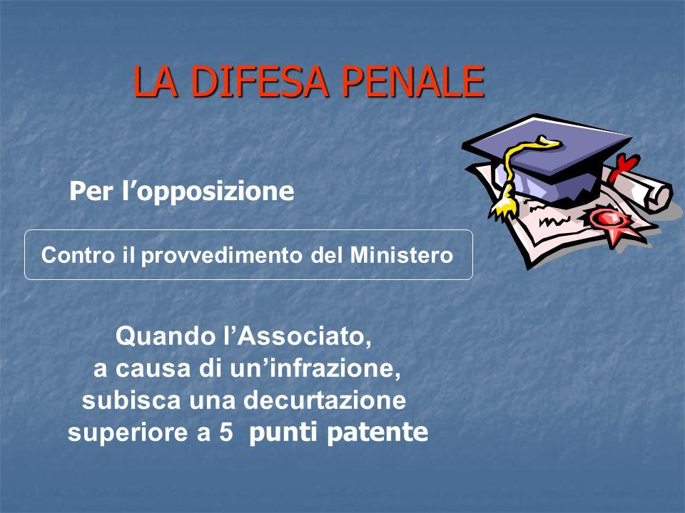 Contro il provvedimento del Ministero LA DIFESA PENALE Per l'opposizione Quando l'Associato, a causa di un'infrazione, subisca una decurtazione superiore a 5 punti patente