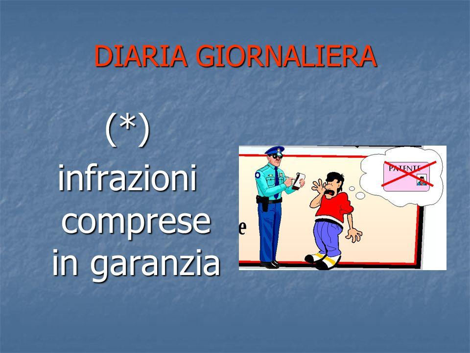 DIARIA GIORNALIERA (*) infrazioni comprese in garanzia