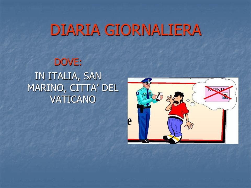 DIARIA GIORNALIERA DOVE: IN ITALIA, SAN MARINO, CITTA' DEL VATICANO