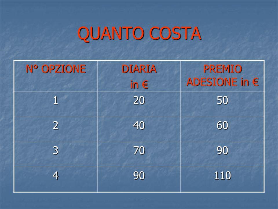 QUANTO COSTA N° OPZIONE DIARIA in € PREMIO ADESIONE in € 12050 24060 37090 490110