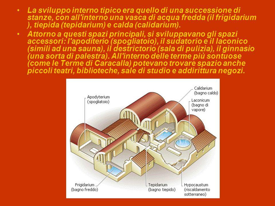 La sviluppo interno tipico era quello di una successione di stanze, con all'interno una vasca di acqua fredda (il frigidarium ), tiepida (tepidarium)