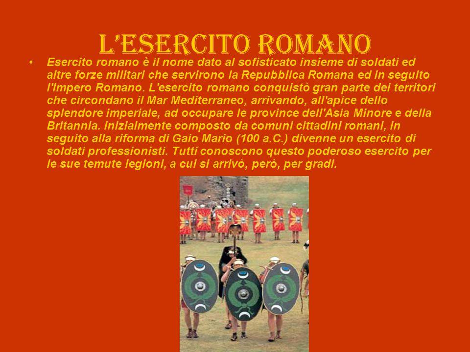 L'esercito romano Esercito romano è il nome dato al sofisticato insieme di soldati ed altre forze militari che servirono la Repubblica Romana ed in se