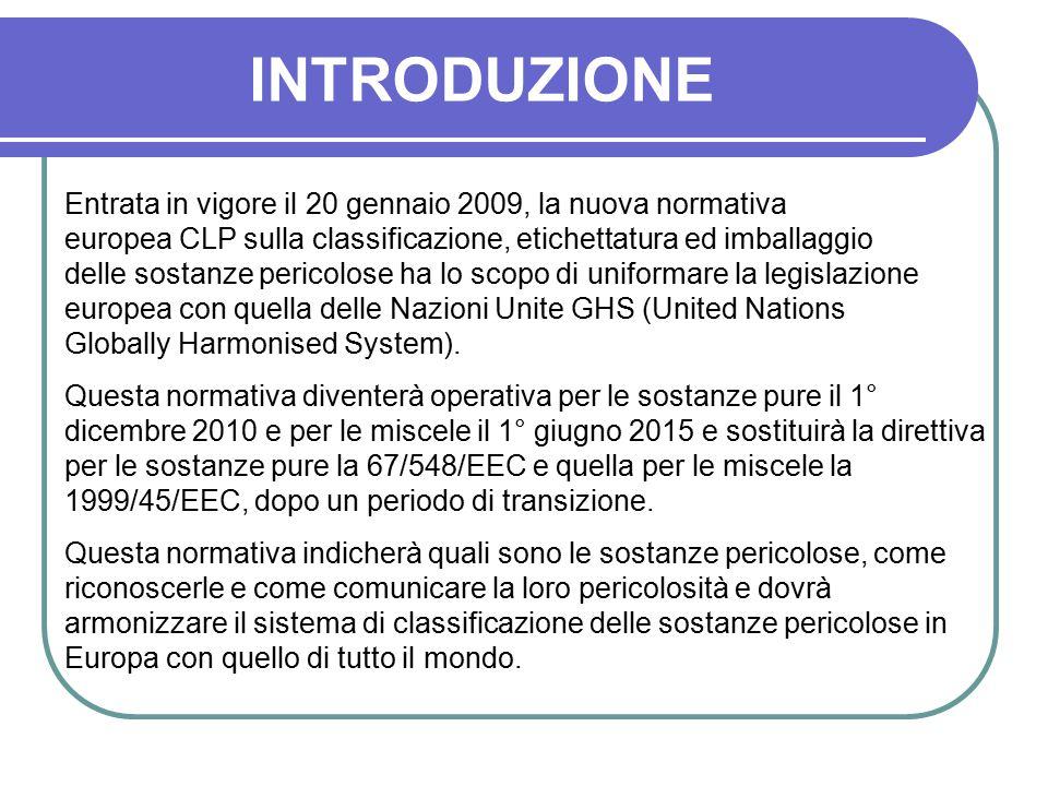 INTRODUZIONE Entrata in vigore il 20 gennaio 2009, la nuova normativa europea CLP sulla classificazione, etichettatura ed imballaggio delle sostanze p