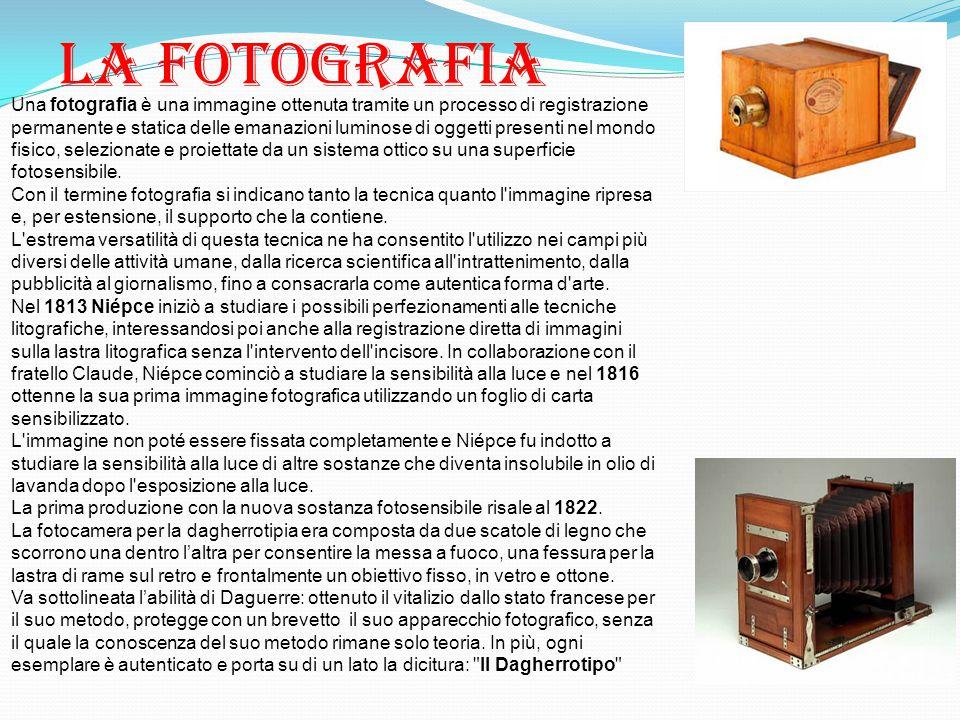 La fotografia Una fotografia è una immagine ottenuta tramite un processo di registrazione permanente e statica delle emanazioni luminose di oggetti pr
