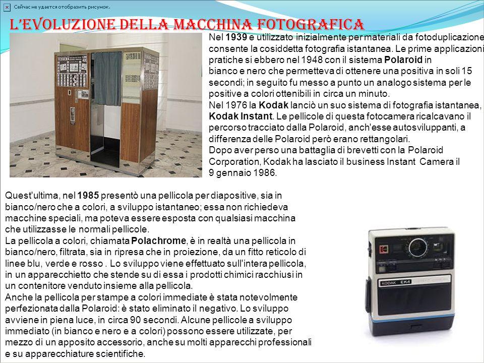 L'evoluzione della macchina fotografica Nel 1939 e utilizzato inizialmente per materiali da fotoduplicazione, consente la cosiddetta fotografia istant