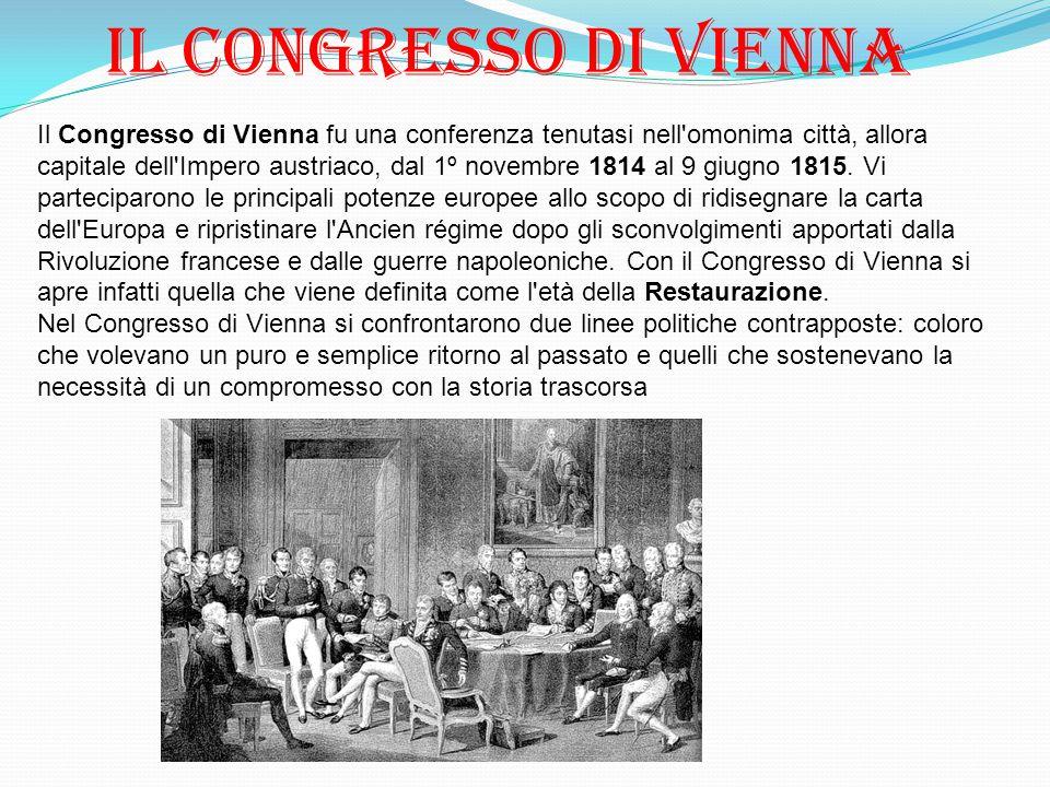 Il Congresso di Vienna fu una conferenza tenutasi nell'omonima città, allora capitale dell'Impero austriaco, dal 1º novembre 1814 al 9 giugno 1815. Vi