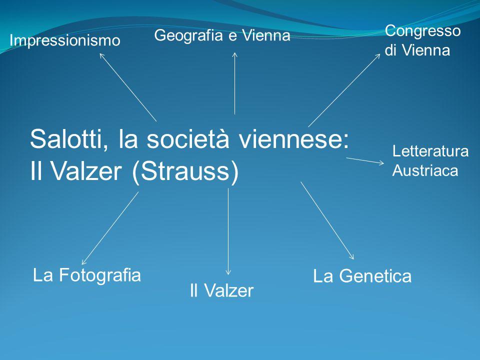 Salotti, la società viennese: Il Valzer (Strauss) Il Valzer La Genetica La Fotografia Impressionismo Geografia e Vienna Congresso di Vienna Letteratur