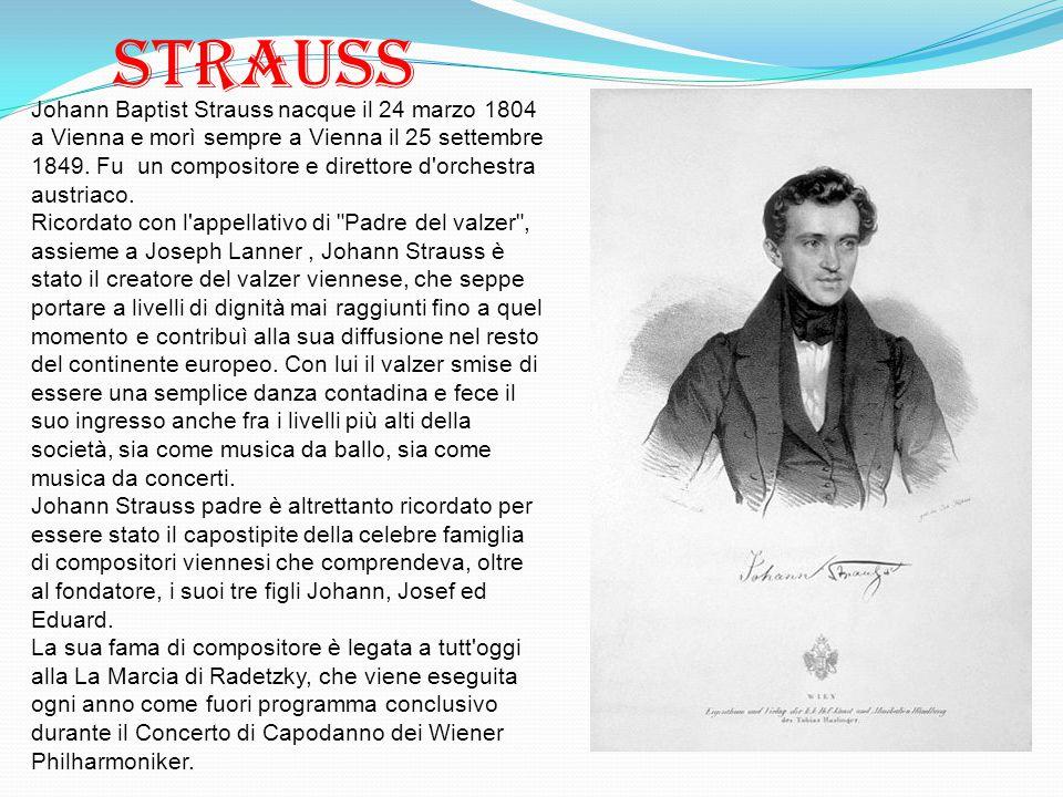 Strauss Johann Baptist Strauss nacque il 24 marzo 1804 a Vienna e morì sempre a Vienna il 25 settembre 1849. Fu un compositore e direttore d'orchestra