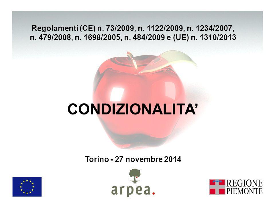 CONDIZIONALITA' Torino - 27 novembre 2014 Regolamenti (CE) n.