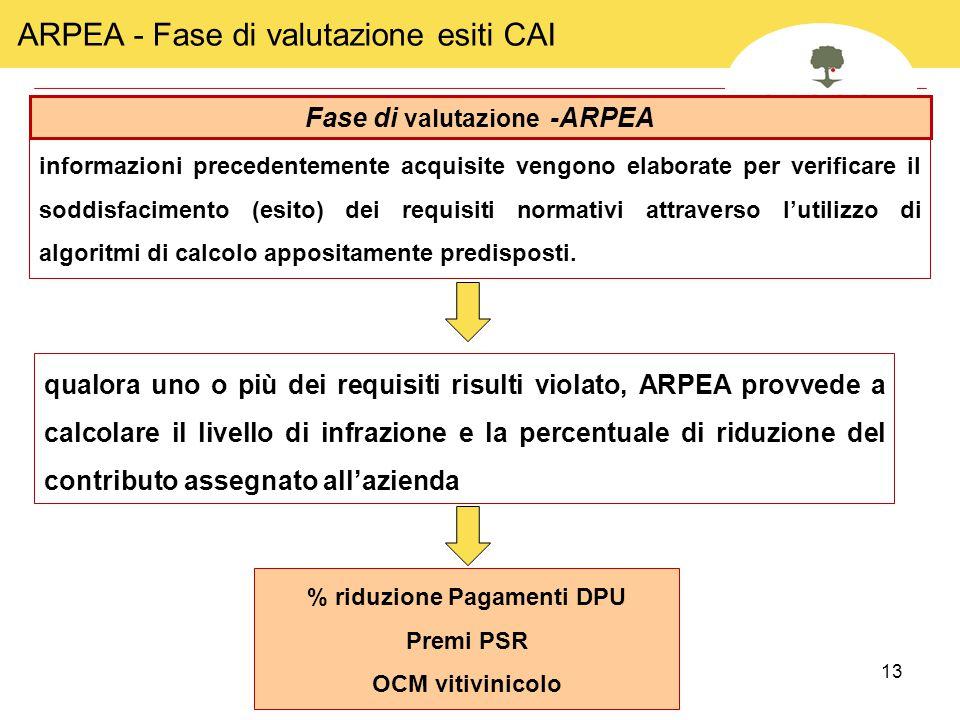 13 ARPEA - Fase di valutazione esiti CAI Fase di valutazione -ARPEA qualora uno o più dei requisiti risulti violato, ARPEA provvede a calcolare il liv