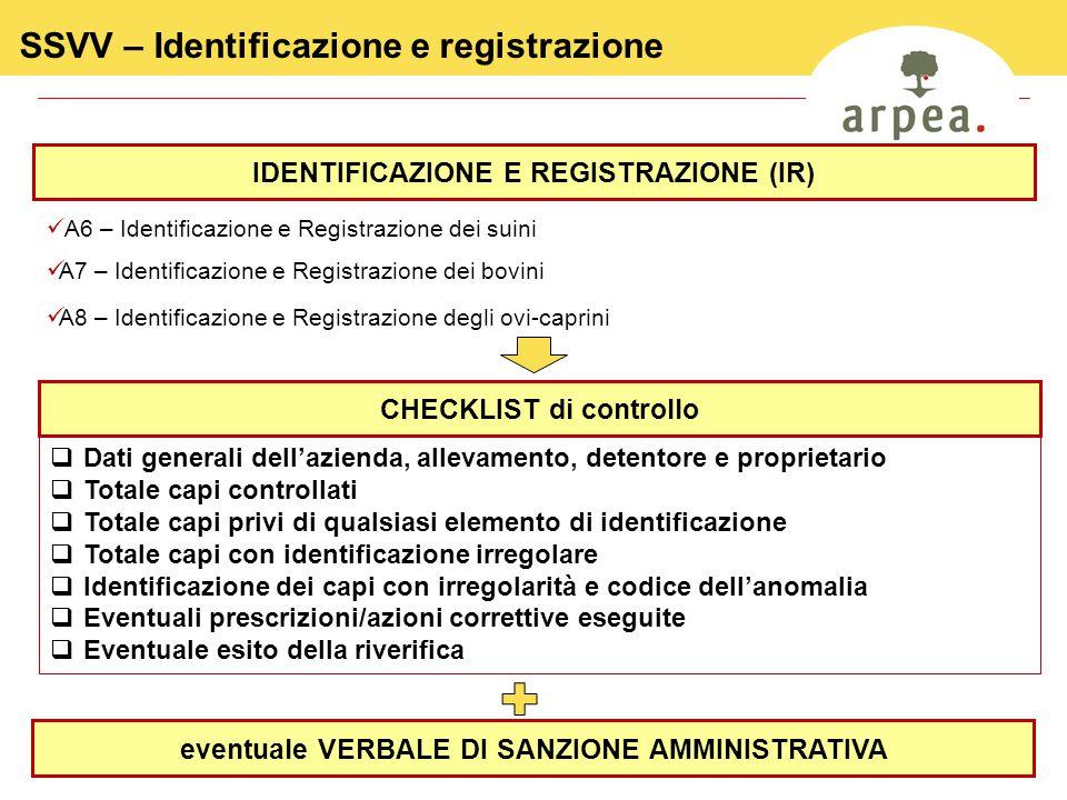 17 SSVV – Identificazione e registrazione A6 – Identificazione e Registrazione dei suini A7 – Identificazione e Registrazione dei bovini A8 – Identificazione e Registrazione degli ovi-caprini IDENTIFICAZIONE E REGISTRAZIONE (IR) CHECKLIST di controllo  Dati generali dell'azienda, allevamento, detentore e proprietario  Totale capi controllati  Totale capi privi di qualsiasi elemento di identificazione  Totale capi con identificazione irregolare  Identificazione dei capi con irregolarità e codice dell'anomalia  Eventuali prescrizioni/azioni correttive eseguite  Eventuale esito della riverifica eventuale VERBALE DI SANZIONE AMMINISTRATIVA