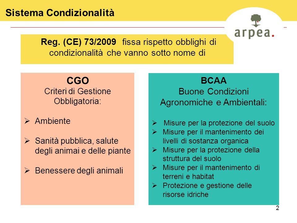 3 Sistema Condizionalità in Italia Ministero delle Politiche Agricole Alimentari e Forestali – MIPAAF Decreto Ministeriale Annualmente i soggetti responsabili emanano la normativa di riferimento: AGEA Coordinamento Circolare di coordinamento Organismi Pagatori Regionali Circolari per il territorio di competenza Regioni Delibere di Giunta Regionale