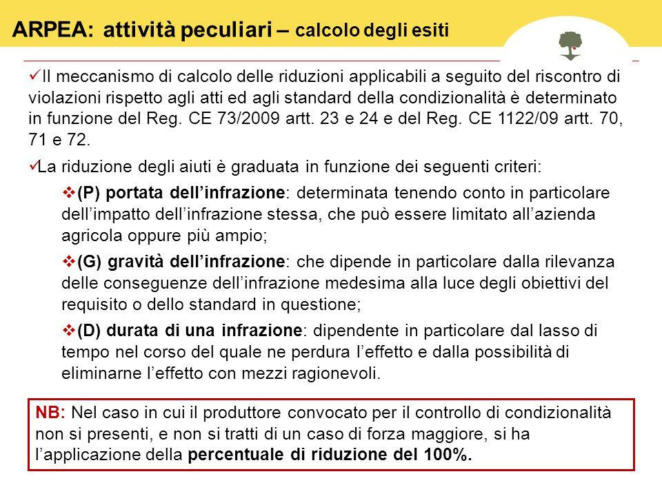 26 Il meccanismo di calcolo delle riduzioni applicabili a seguito del riscontro di violazioni rispetto agli atti ed agli standard della condizionalità è determinato in funzione del Reg.