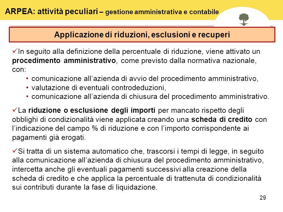 29 Applicazione di riduzioni, esclusioni e recuperi In seguito alla definizione della percentuale di riduzione, viene attivato un procedimento amminis