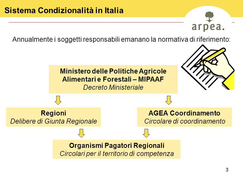 3 Sistema Condizionalità in Italia Ministero delle Politiche Agricole Alimentari e Forestali – MIPAAF Decreto Ministeriale Annualmente i soggetti resp