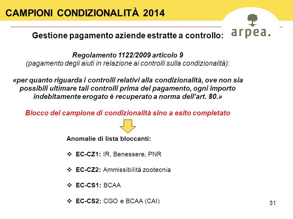 31 CAMPIONI CONDIZIONALITÀ 2014 Regolamento 1122/2009 articolo 9 (pagamento degli aiuti in relazione ai controlli sulla condizionalità): «per quanto r