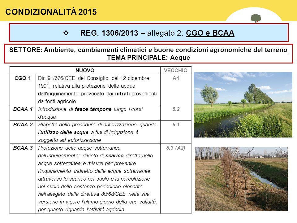 34  REG. 1306/2013 – allegato 2: CGO e BCAA SETTORE: Ambiente, cambiamenti climatici e buone condizioni agronomiche del terreno TEMA PRINCIPALE: Acqu