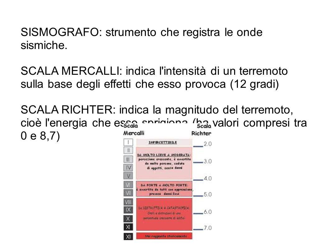 SISMOGRAFO: strumento che registra le onde sismiche. SCALA MERCALLI: indica l'intensità di un terremoto sulla base degli effetti che esso provoca (12