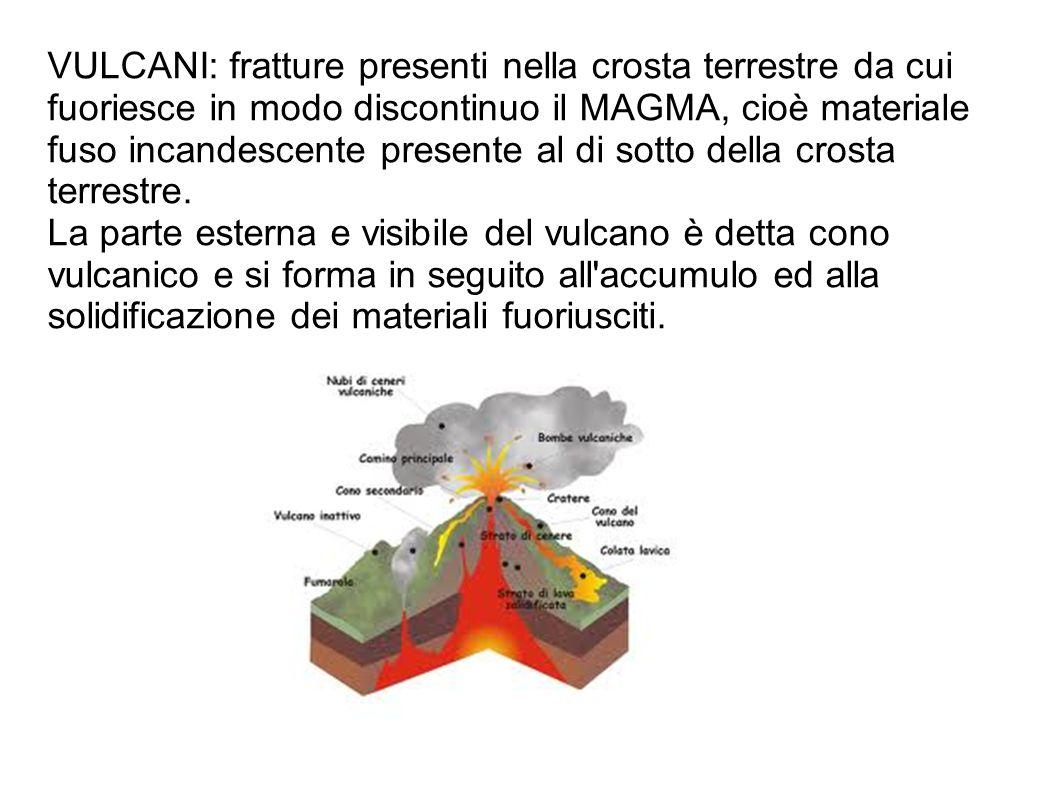 VULCANI: fratture presenti nella crosta terrestre da cui fuoriesce in modo discontinuo il MAGMA, cioè materiale fuso incandescente presente al di sott