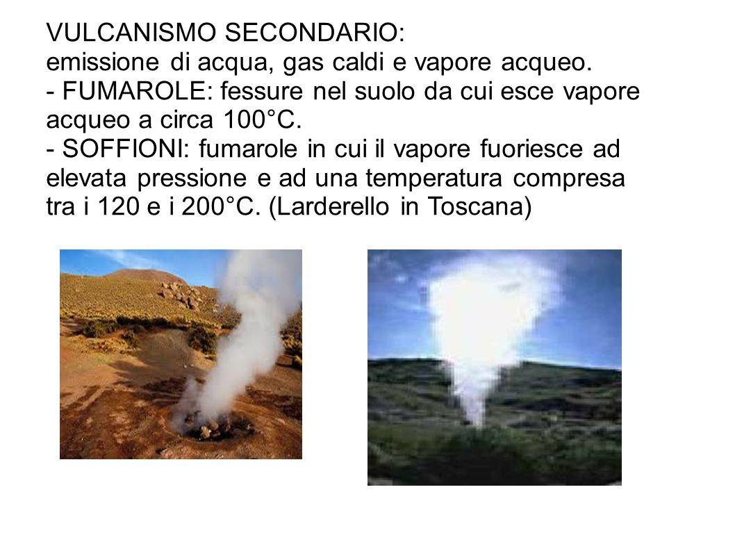 VULCANISMO SECONDARIO: emissione di acqua, gas caldi e vapore acqueo. - FUMAROLE: fessure nel suolo da cui esce vapore acqueo a circa 100°C. - SOFFION