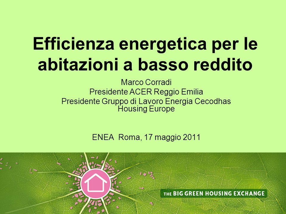 Efficienza energetica per le abitazioni a basso reddito Marco Corradi Presidente ACER Reggio Emilia Presidente Gruppo di Lavoro Energia Cecodhas Housing Europe ENEA Roma, 17 maggio 2011