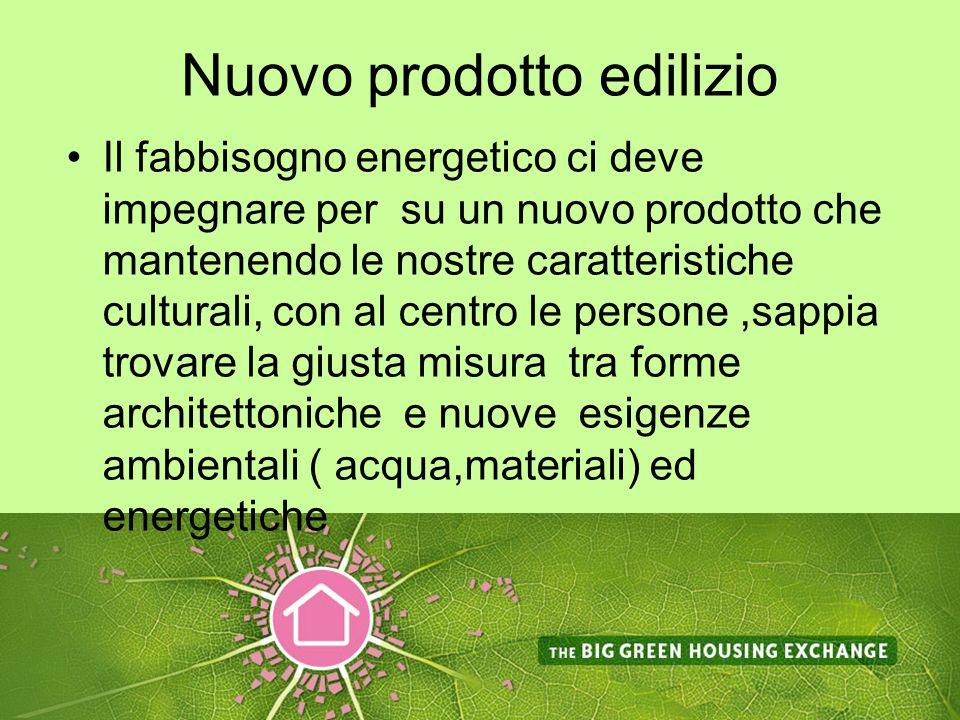 Nuovo prodotto edilizio Il fabbisogno energetico ci deve impegnare per su un nuovo prodotto che mantenendo le nostre caratteristiche culturali, con al centro le persone,sappia trovare la giusta misura tra forme architettoniche e nuove esigenze ambientali ( acqua,materiali) ed energetiche